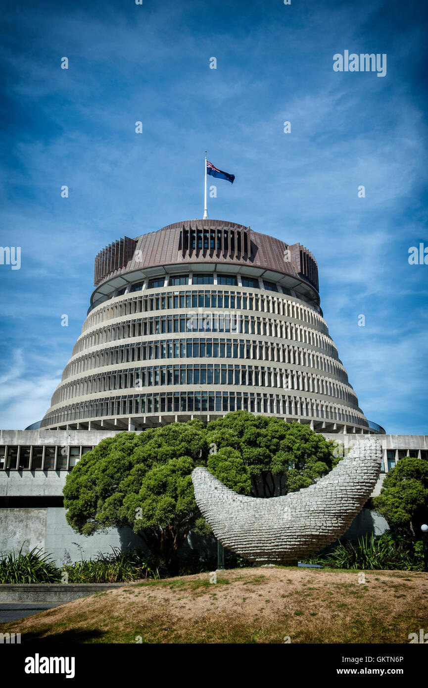 Wellington, New Zealand - March 3, 2016: The Beehive, the Executive Wing of the New Zealand Parliament Buildings Stock Photo