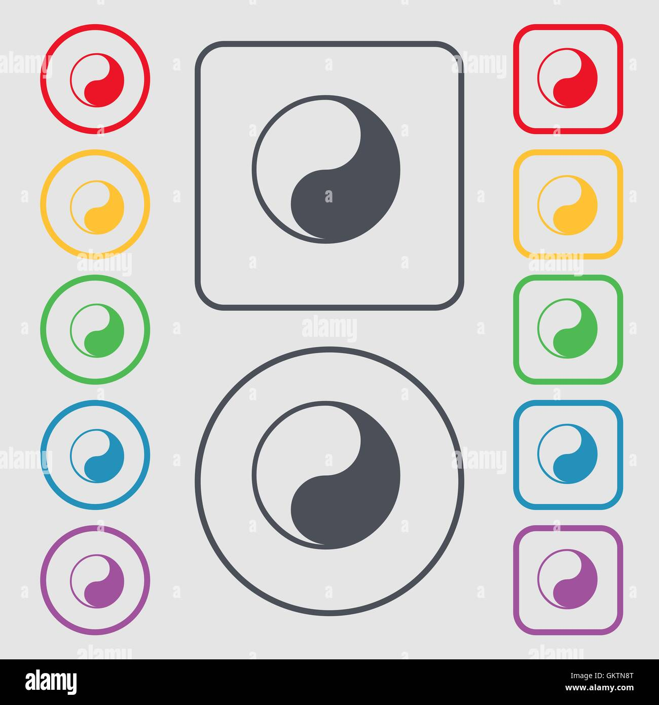 Yin Yang Icon Sign Symbol On The Round And Square Buttons With