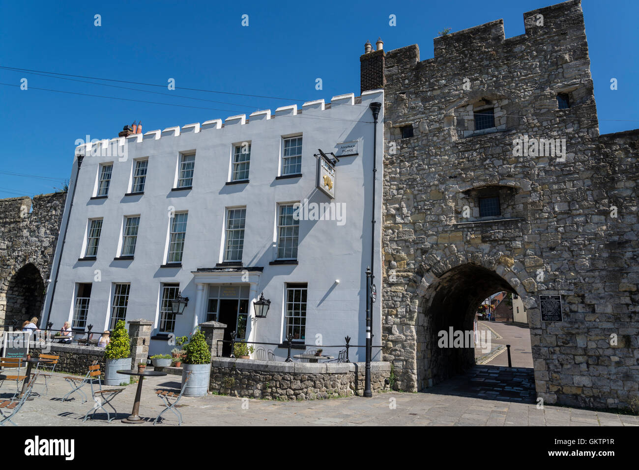 West Gate, Medieval Town Walls, Southampton, Hampshire, England, UK - Stock Image