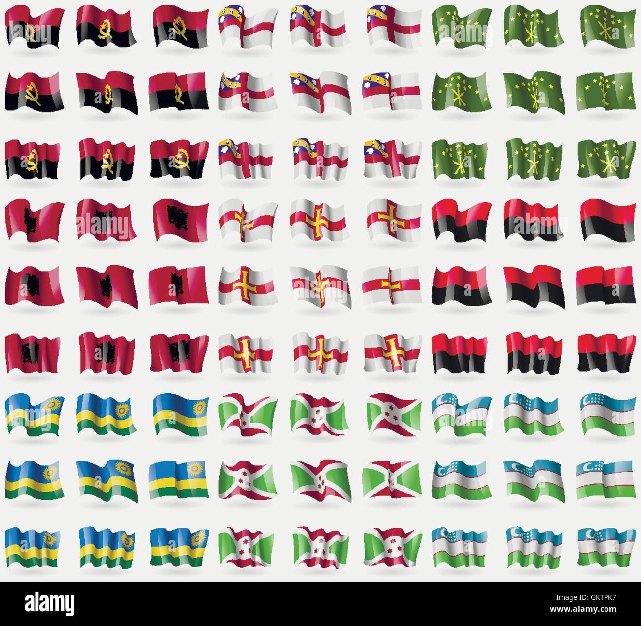 Angola, Herm, Adygea, Albania, Guernsey, UPA, Rwanda, Burundi, Uzbekistan. Big set of 81 flags. Vector - Stock Vector