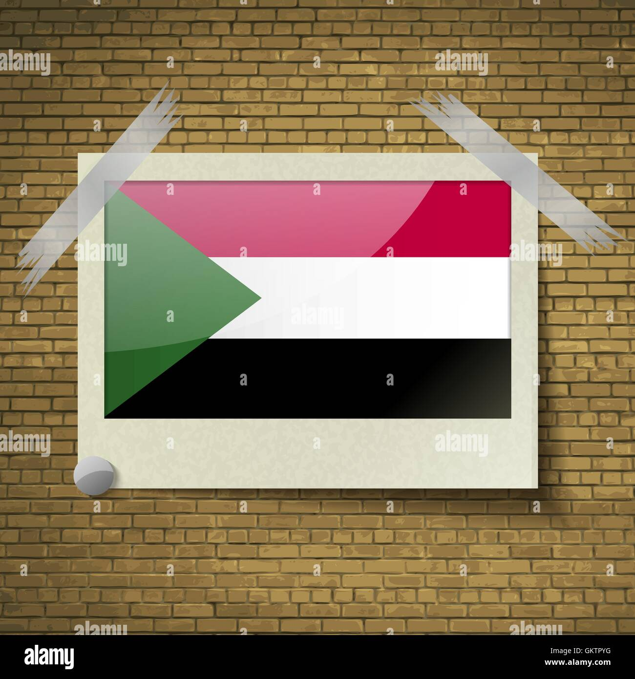 Flags Sudanat frame on a brick background. Vector - Stock Vector