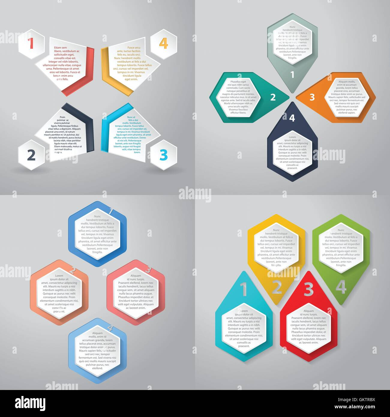 Infographics background with 4 option hexagon elements - Stock Image