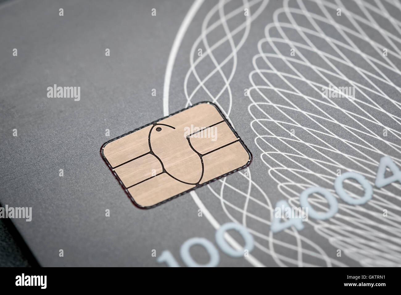 EMV Credit Card Chip Detail - Stock Image