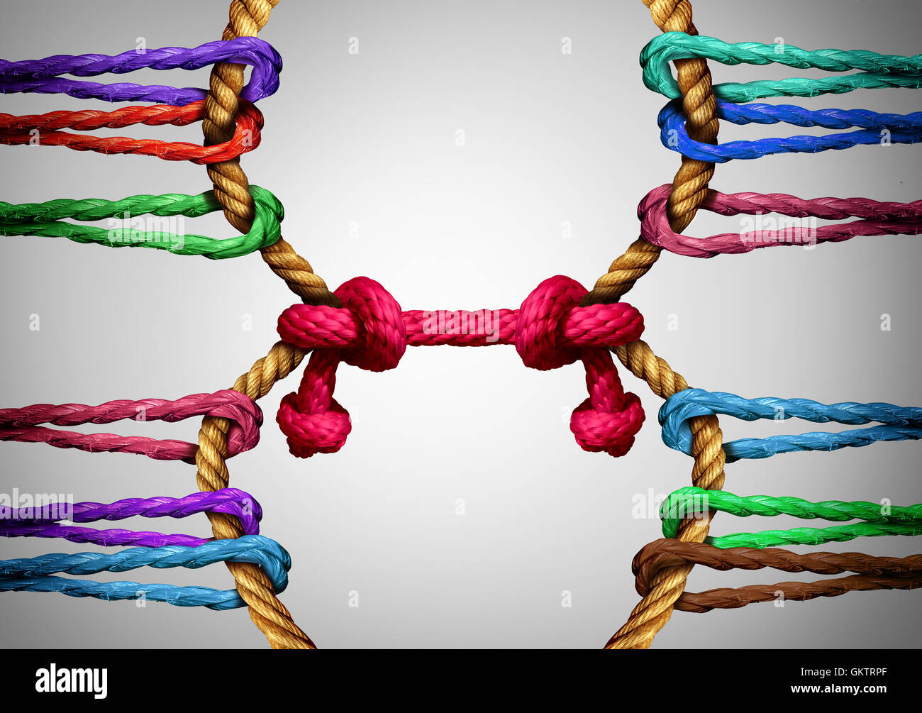 Management consulting and connection symbol as two connected groups of roe linked together by a central link as a business and social communication metaphor for bringing teams together through strong leadership. Stock Photo