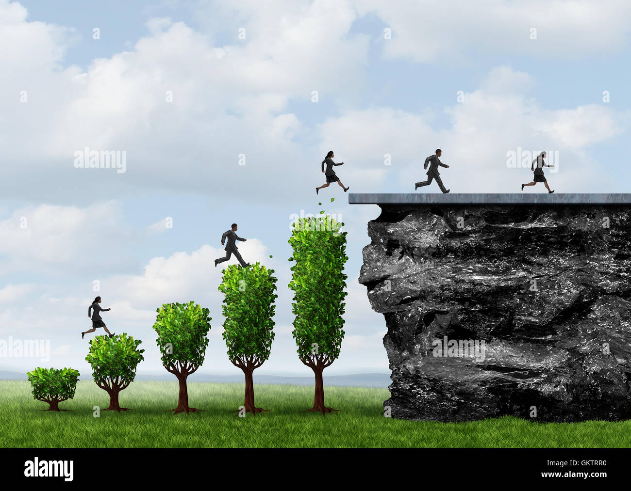 Business growth people success and growing opportunity to reach a goal as businesspeople climbing and running upward - Stock Image