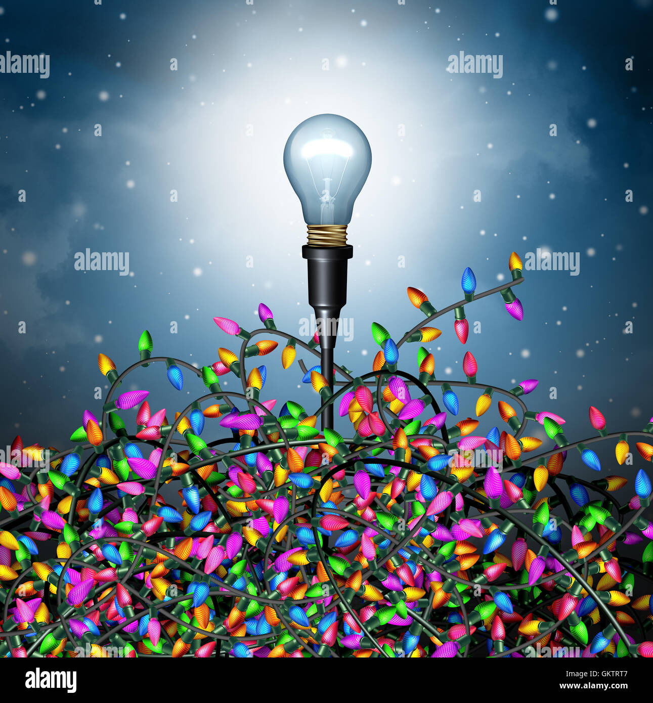 Winter holiday ideas as a seasonal concept with a lightbulb emerging from a group of confused tangled christmas - Stock Image