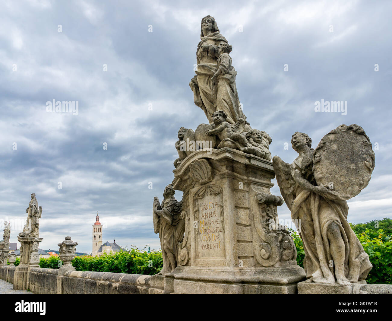 Statues on Barborska street which runs parallel to the Jesuit College Kutna Hora Czech Republic - Stock Image
