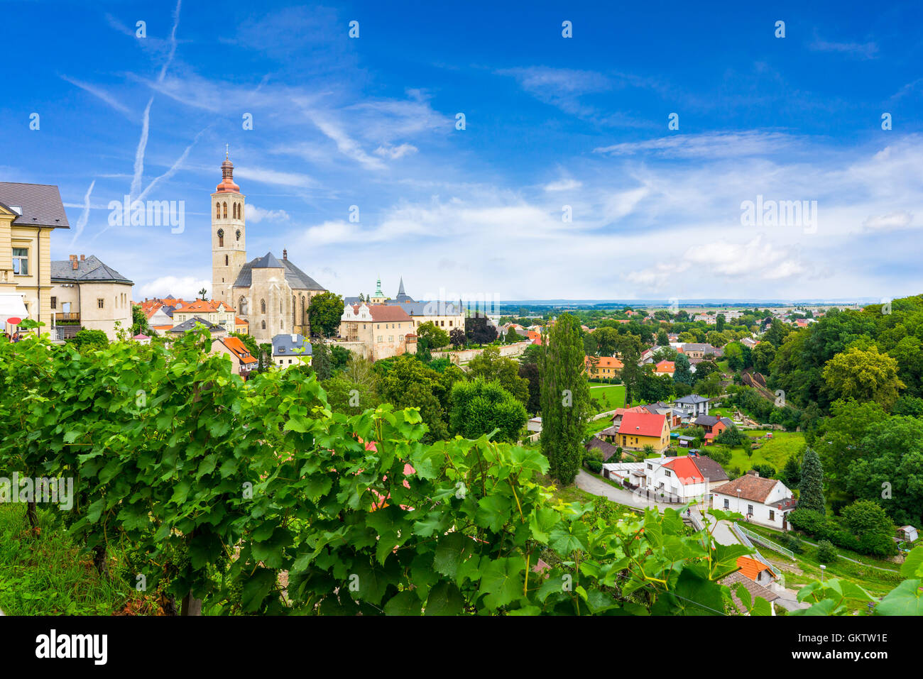Overlooking a vineyard and the town at Kutna Hora Czech Republic - Stock Image