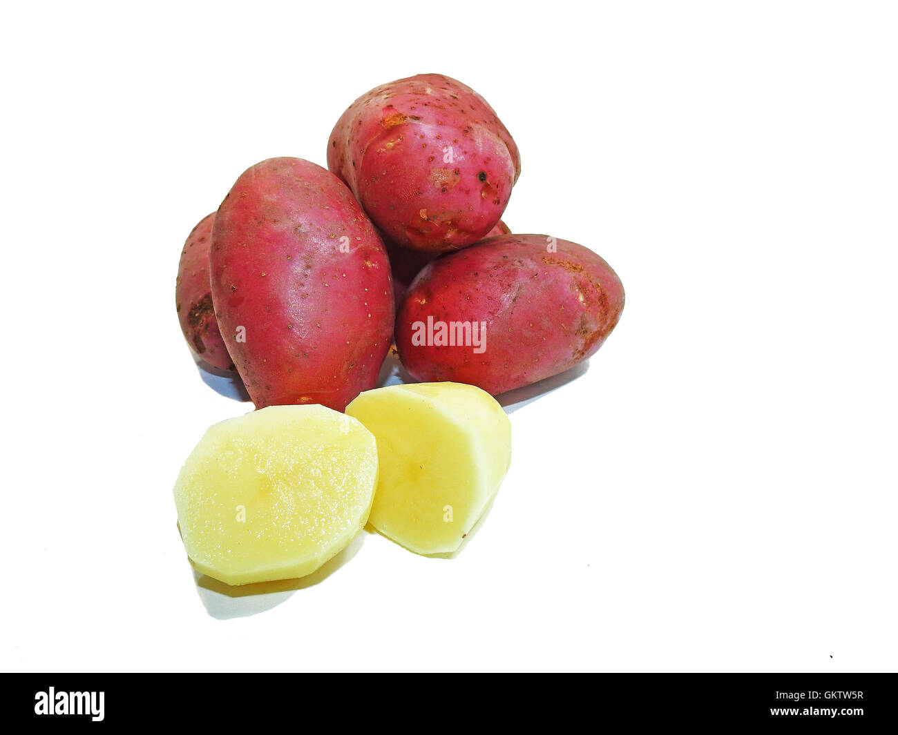 Red fresh potatoes. - Stock Image