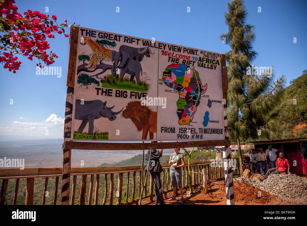 A sign illustrating what one can find in the rift valley Stock Photo