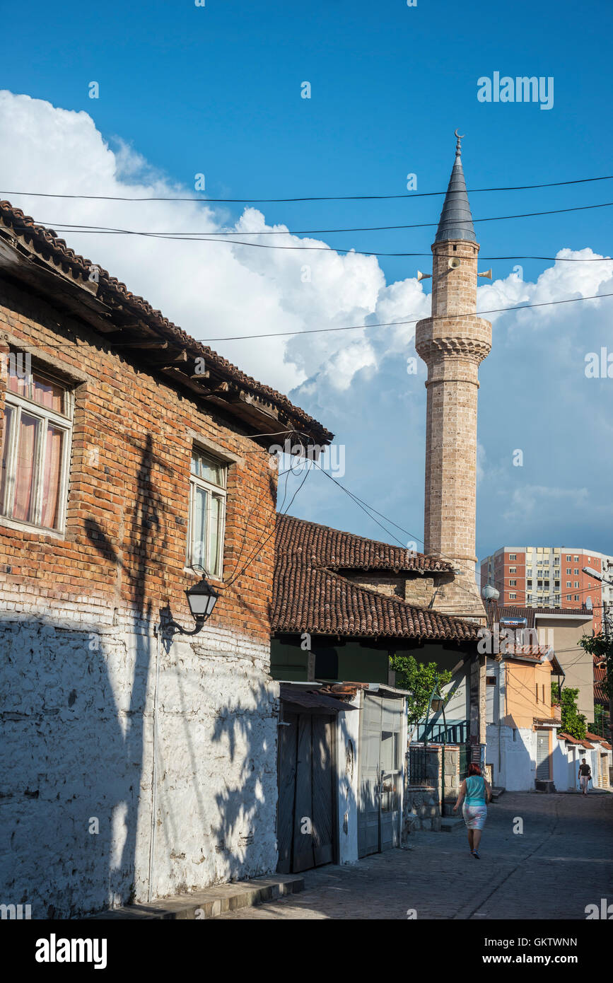 Looking towards the King Mosque in Elbasan's old Ottoman Quarter, in the centre of Elbasan,  Central Albania, - Stock Image
