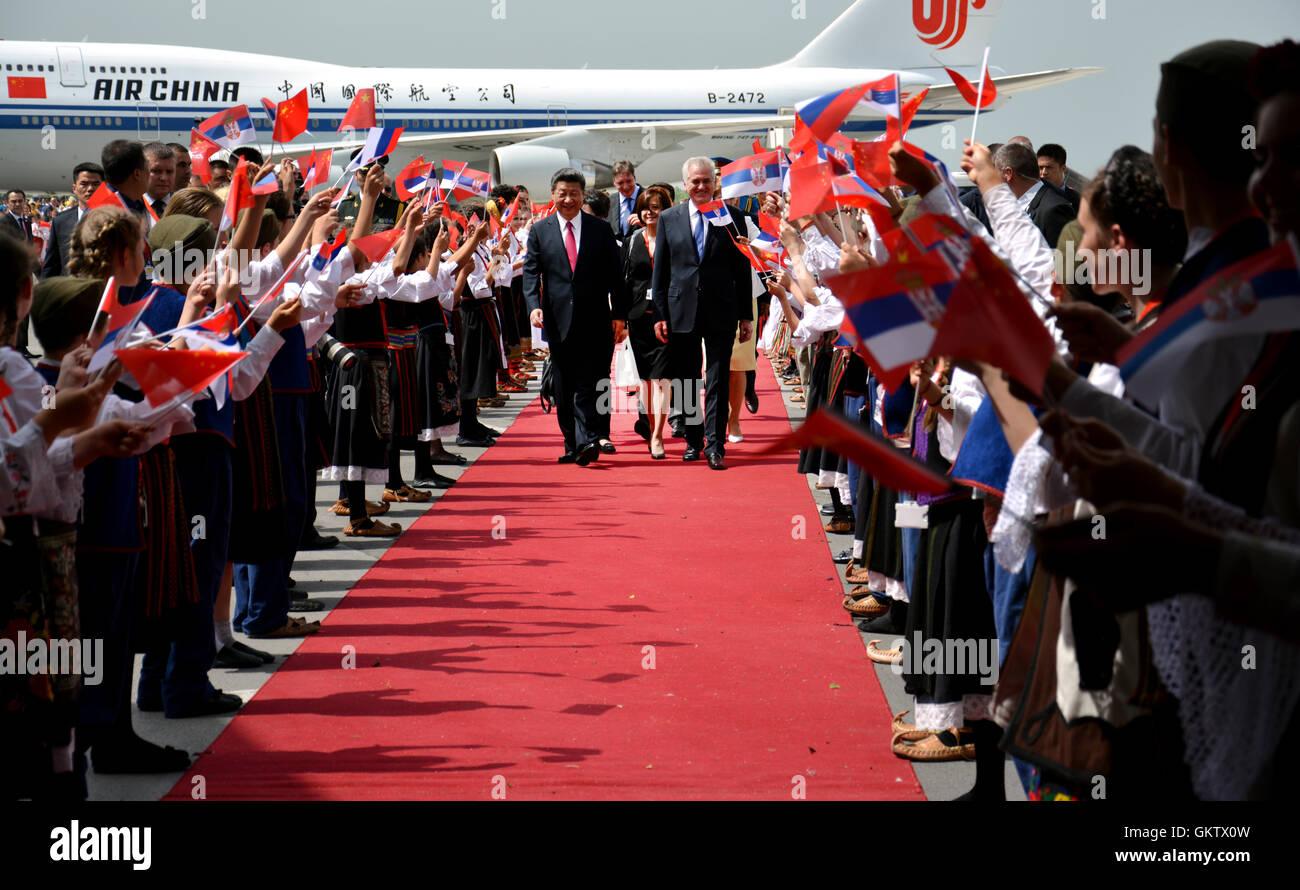 Belgrade, Serbia. 17th June, 2016. Chinese President Xi Jinping's plane landed at Belgrade's Nikola Tesla - Stock Image