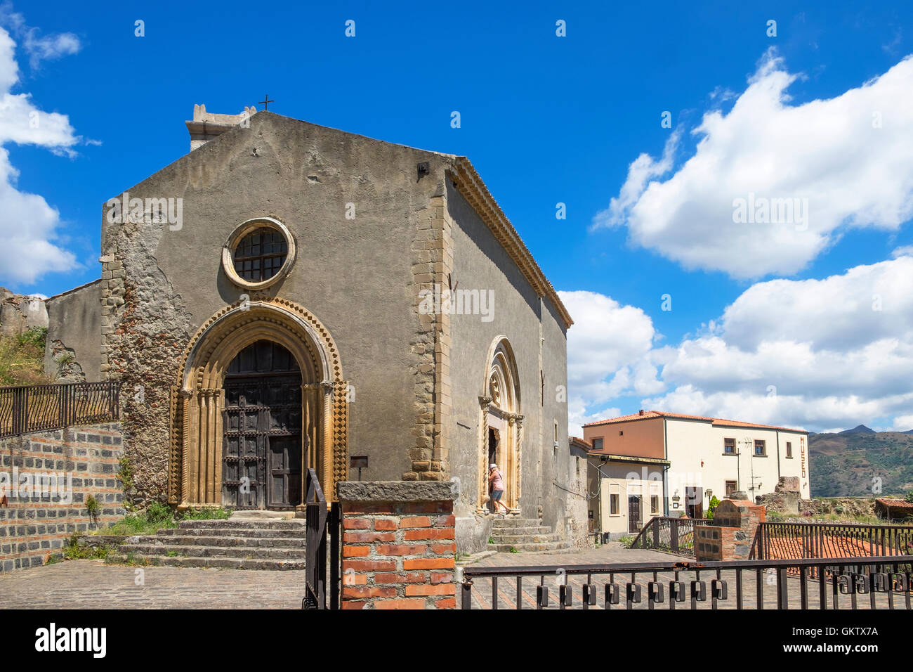 San Michele church in the mountain village of Savoca on the island of Sicily, Italy - Stock Image