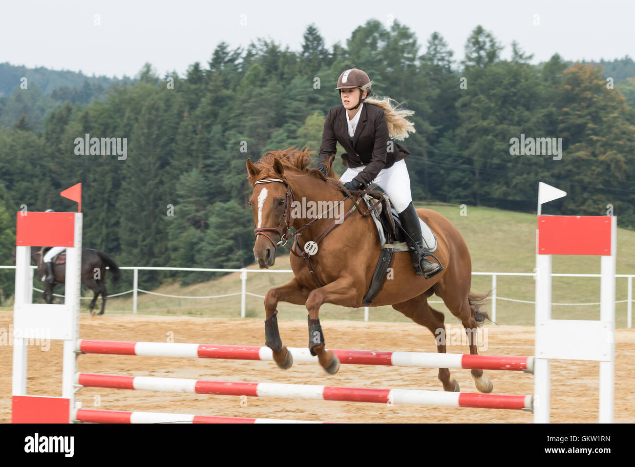 Beautiful blond horsewoman during the jump on a horse. - Stock Image