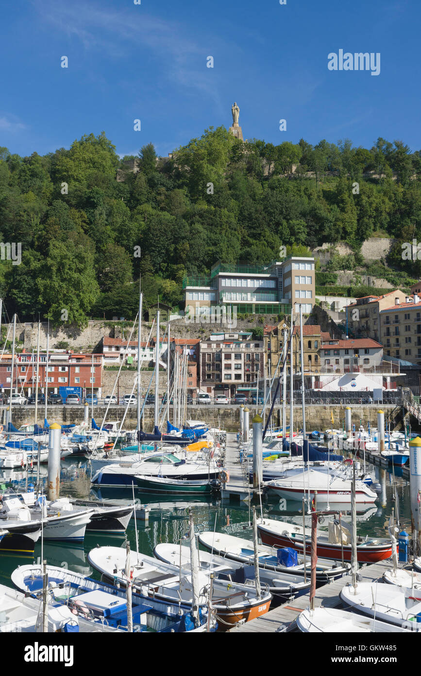 Boats moored in the port area of San Sebastian Donostia Spain - Stock Image