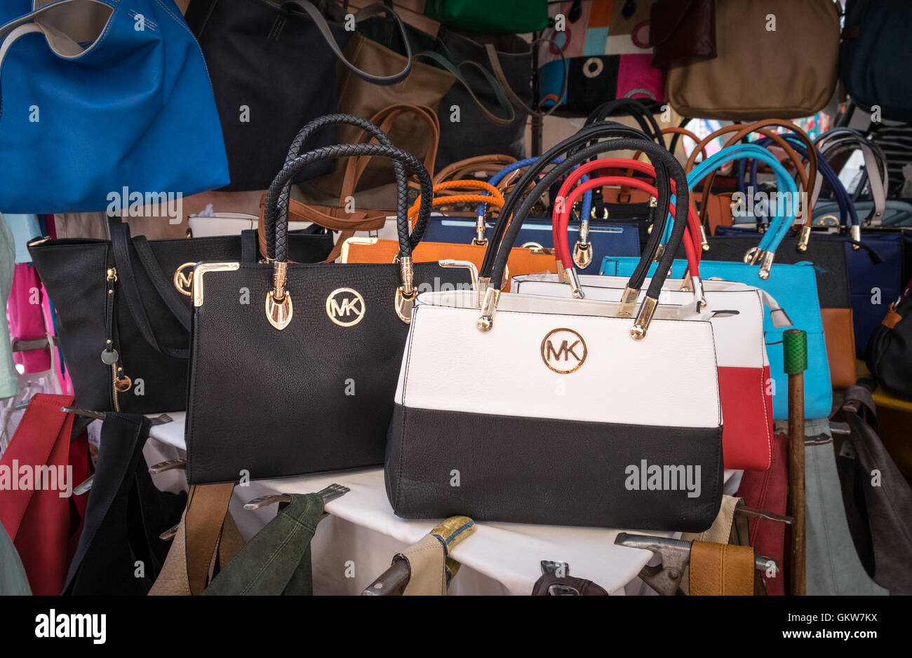 2a5dfdd2d5d0 fake Michael Kors hand bags on sale at a street marking in Alcudia Old Town  Mallorca