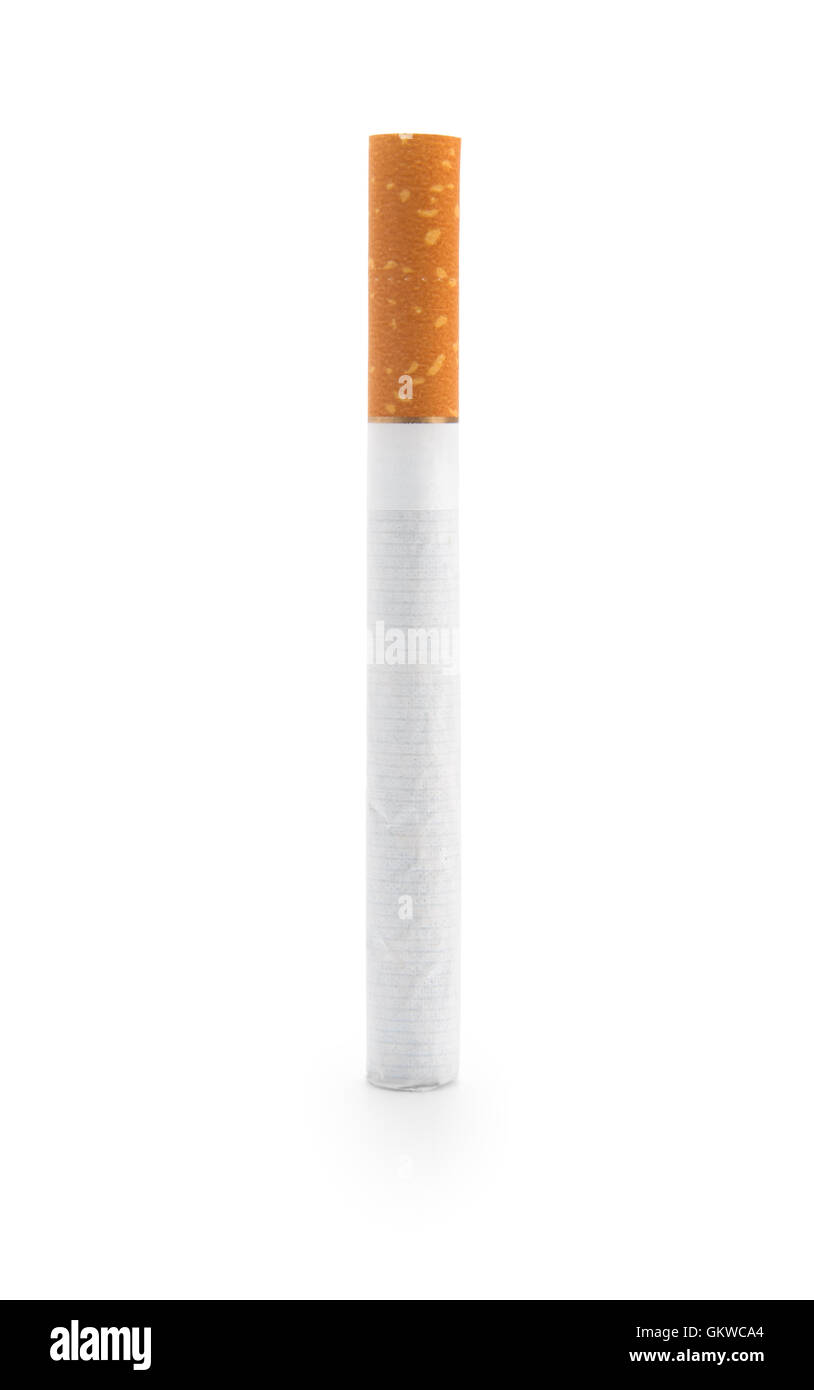 One Cigarette, isolated on white background - Stock Image