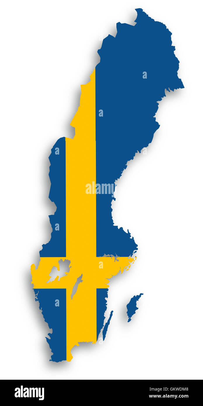 Map of Sweden filled with flag - Stock Image