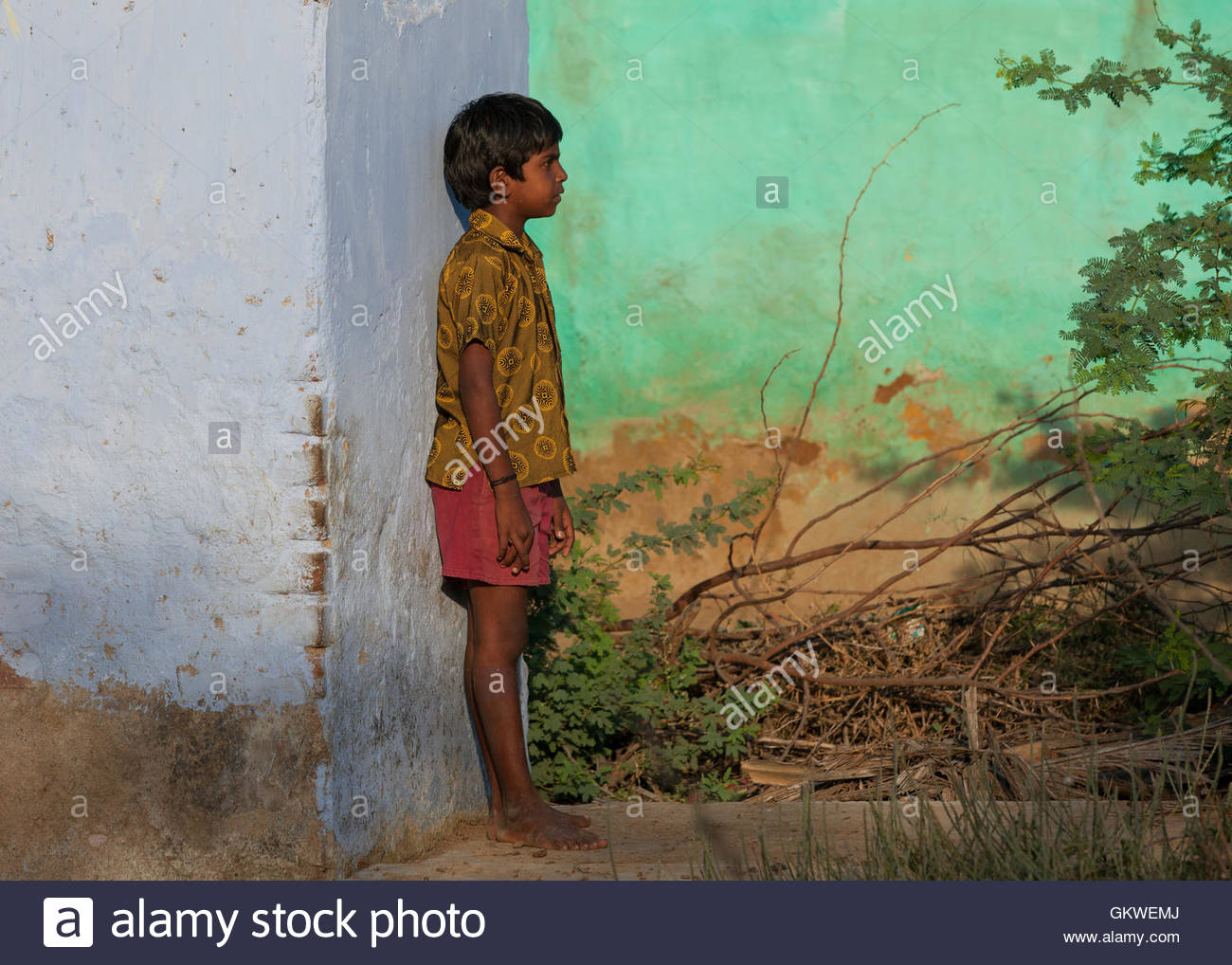 Young boy in Koonthankulam, Tamil Nadu,India, - Stock Image