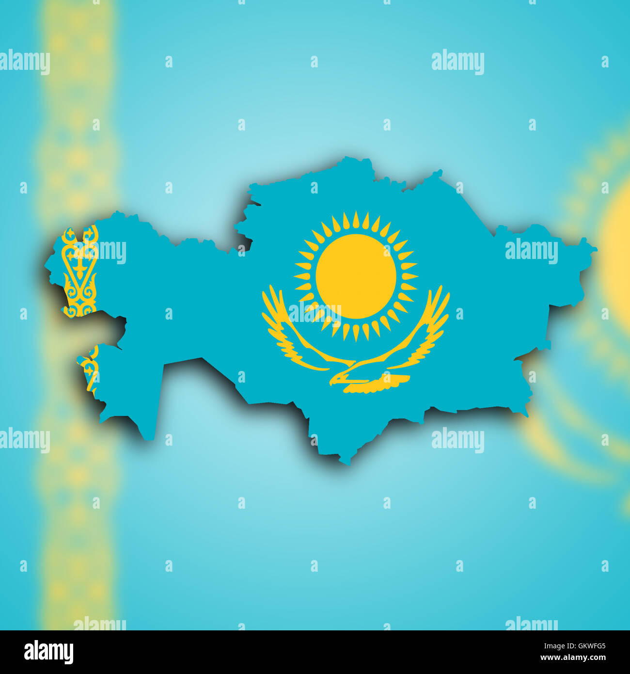 Map of Kazakhstan - Stock Image