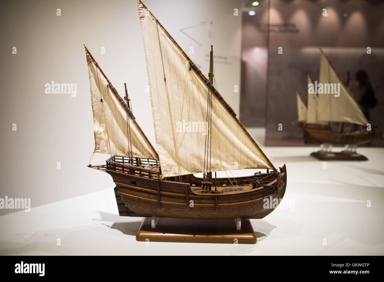 [Lisbon Portugal] A model of a 2 Masts Lateen Rigged Caravel. Known as 'disovery caravel,' it was the main - Stock Image
