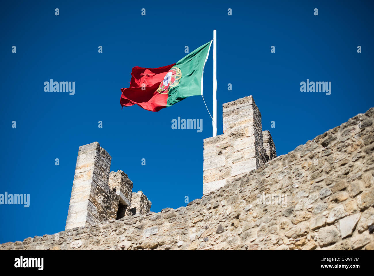 LISBON, Portugal - Sitting high on a hill overlooking the center of Lisbon, São Jorge Castle (or Castelo de - Stock Image