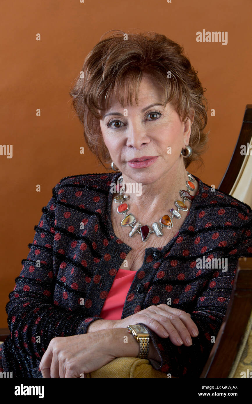 Isabel Allende poses for portrait session on November 30, 2015 in Los Angeles, California. Stock Photo