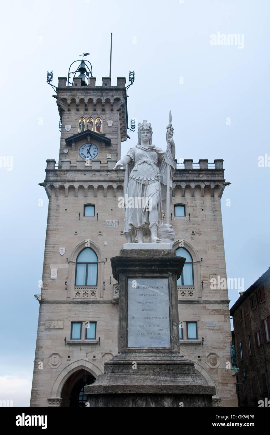 City Hall at Piazza della Libertà, Statue Liberty, San Marino - Stock Image