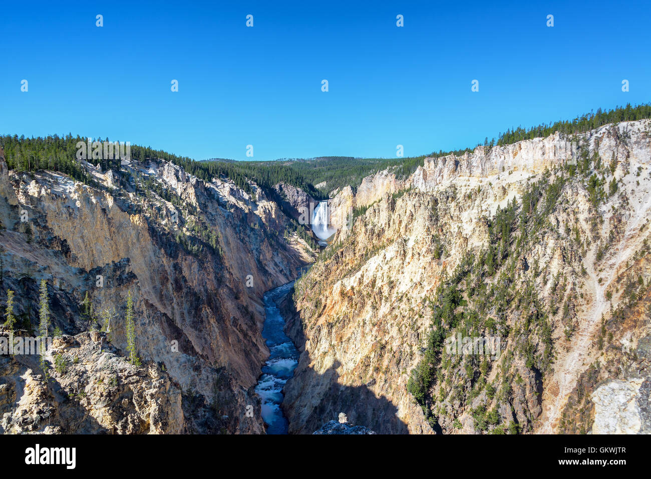 Wide angle view of Lower Yellowstone Falls in Yellowstone National Park - Stock Image