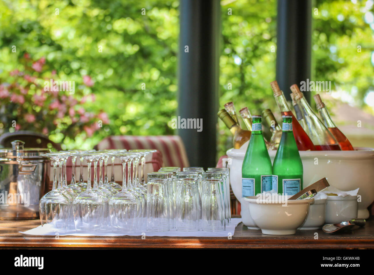 Classy bar setup for a party - Stock Image
