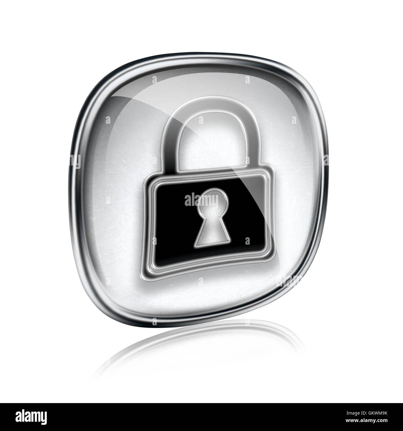 Lock icon grey glass, isolated on white background. - Stock Image