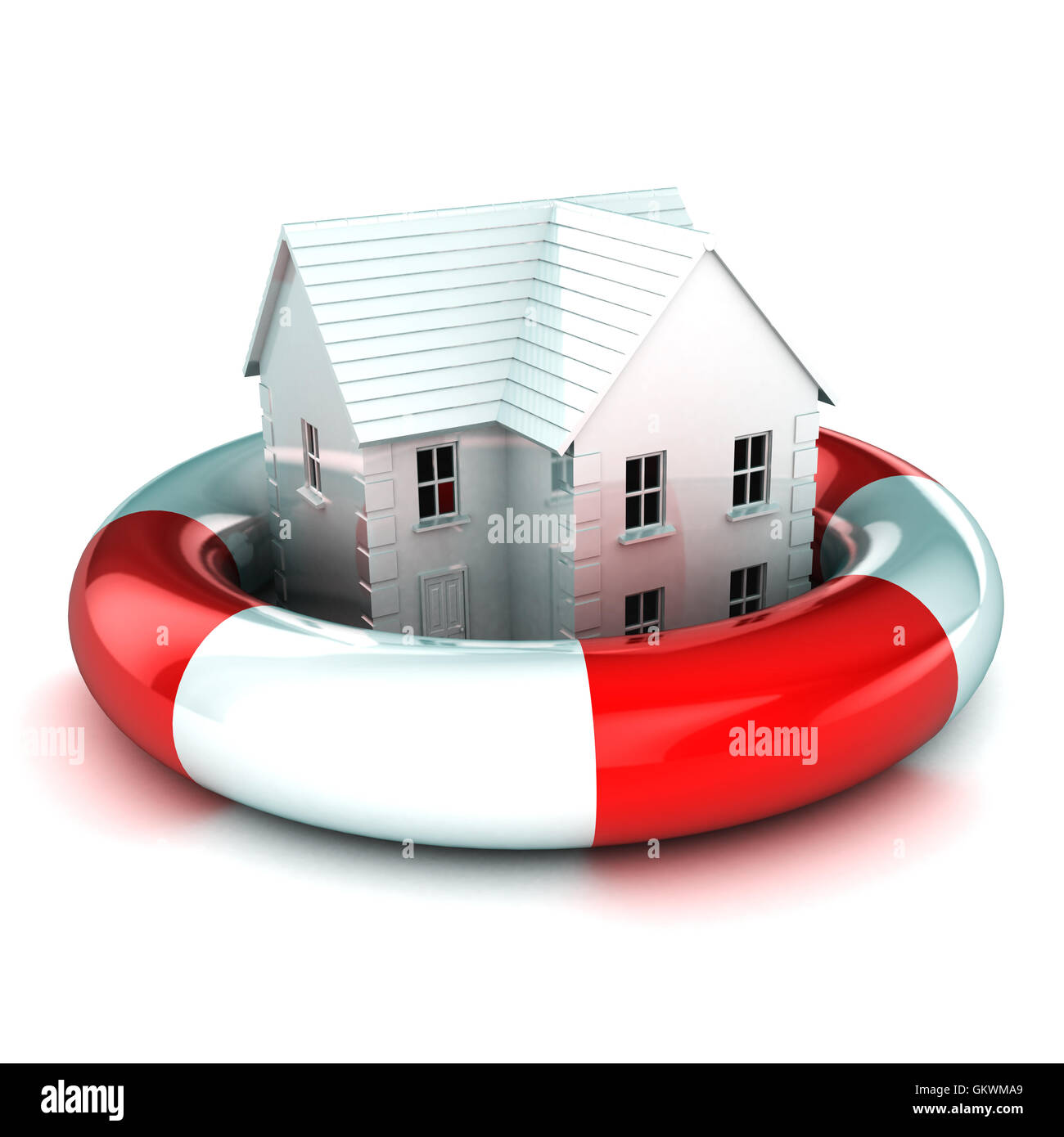 House in a Lifebuoy - Stock Image