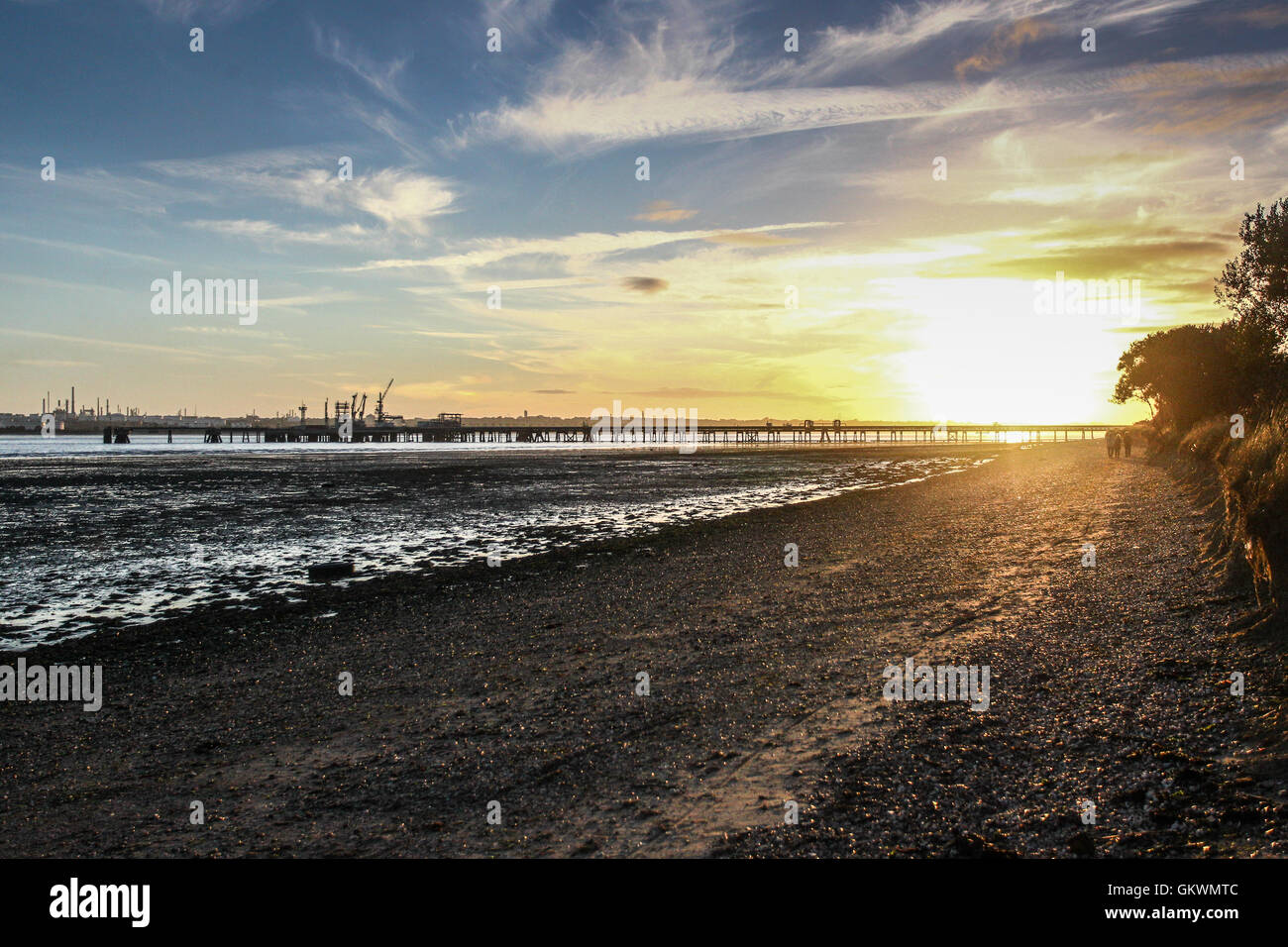 A view of Southampton Water shore line from Hamble common Stock Photo