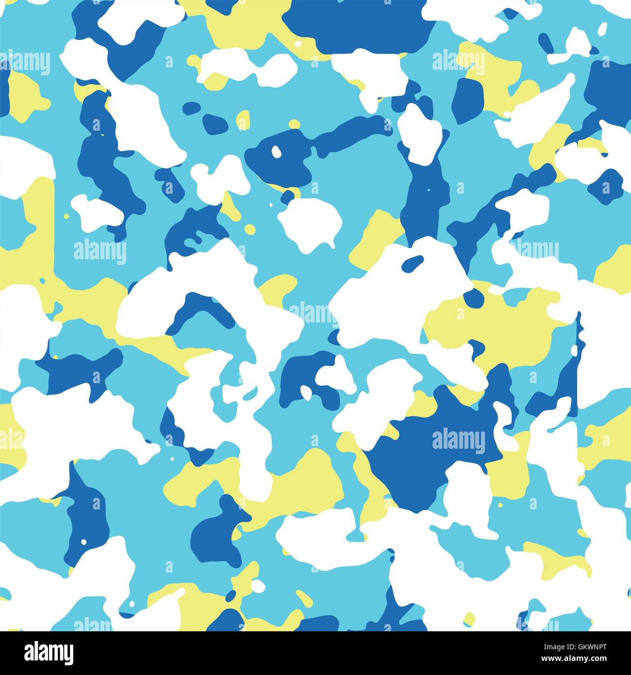 Seamless blue and yellow camo texture - Stock Image