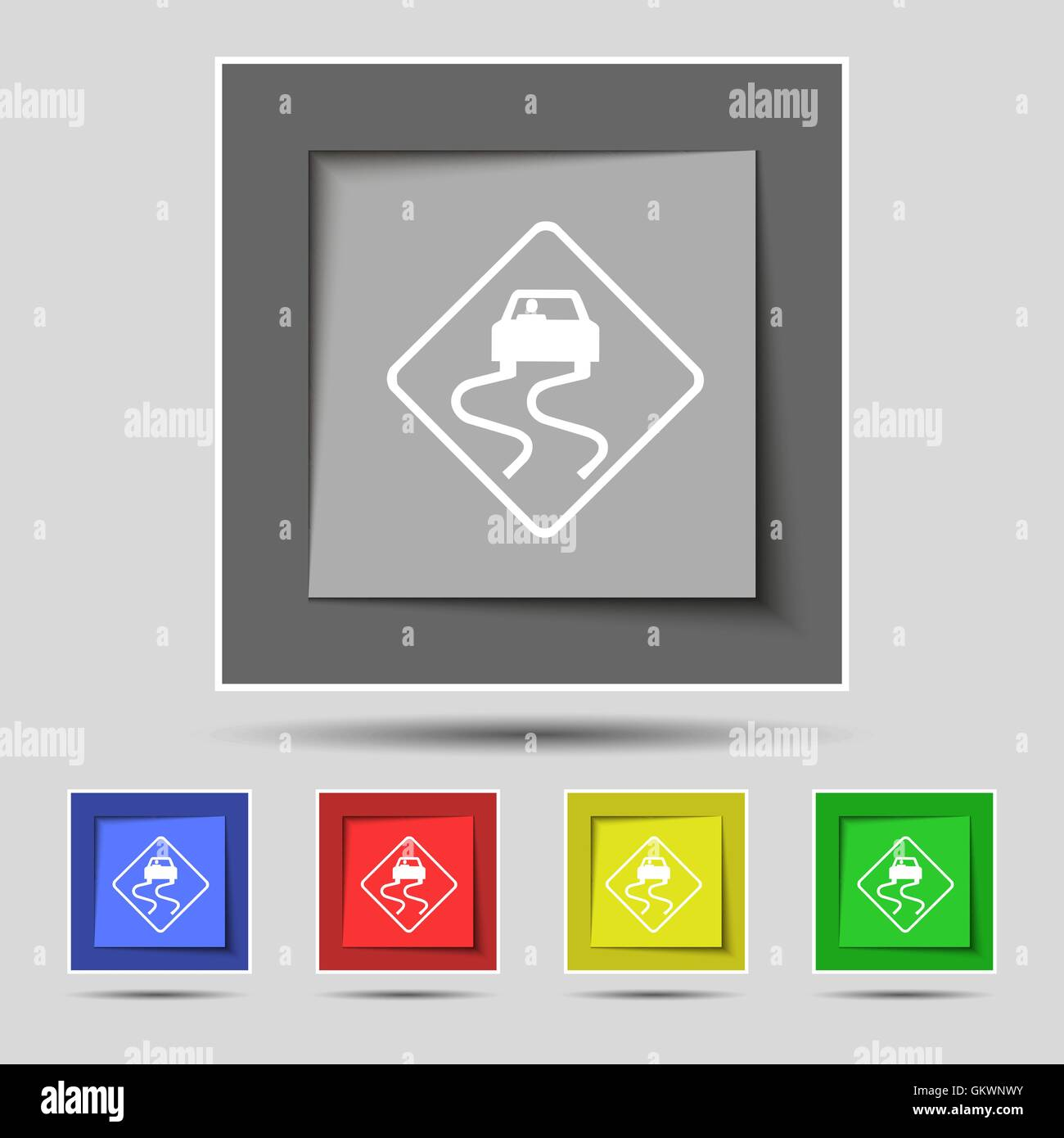 Road slippery icon sign on original five colored buttons. Vector - Stock Image