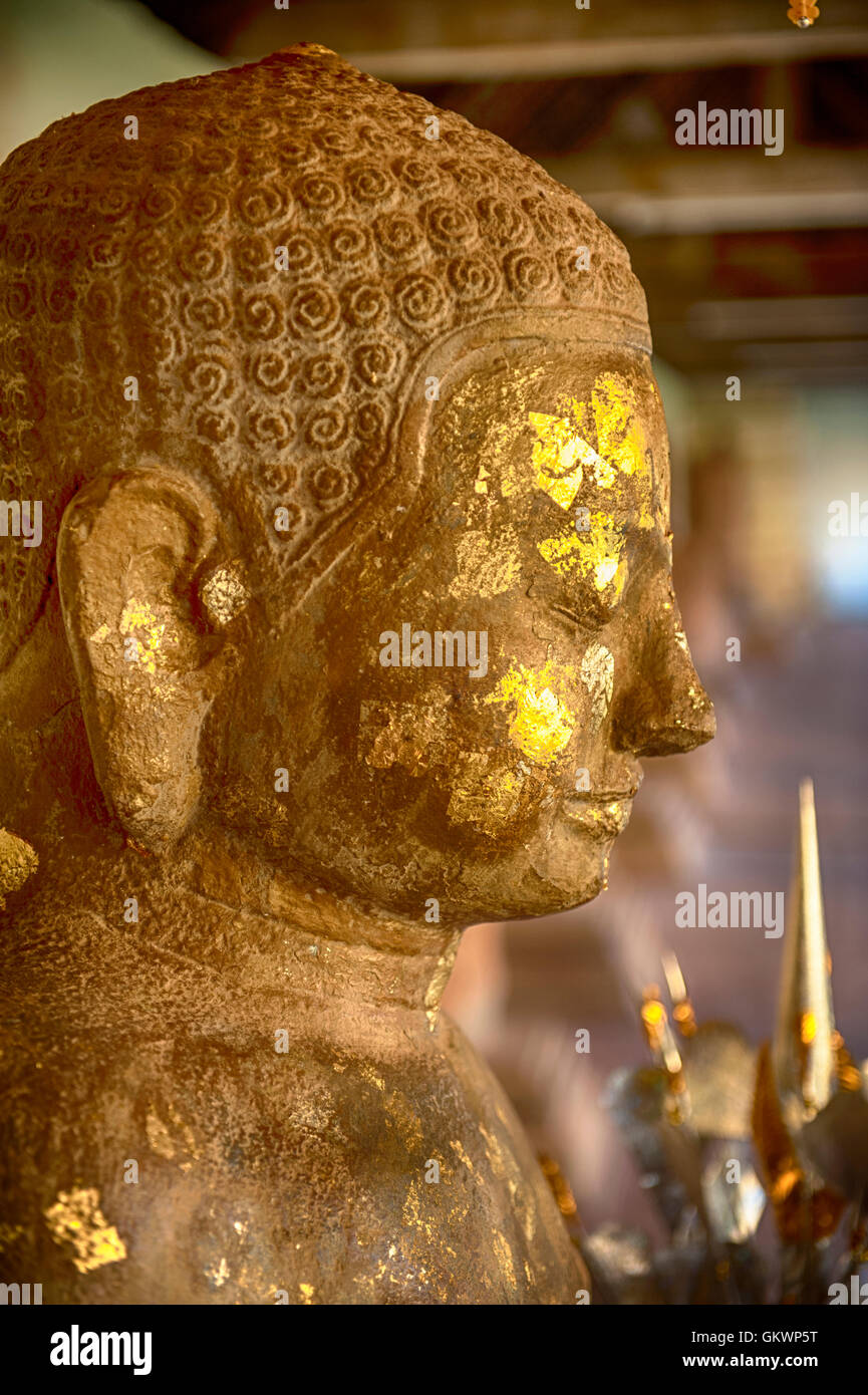 Buddha image located at That Luang Stupa, Vientiane, Laos - Stock Image
