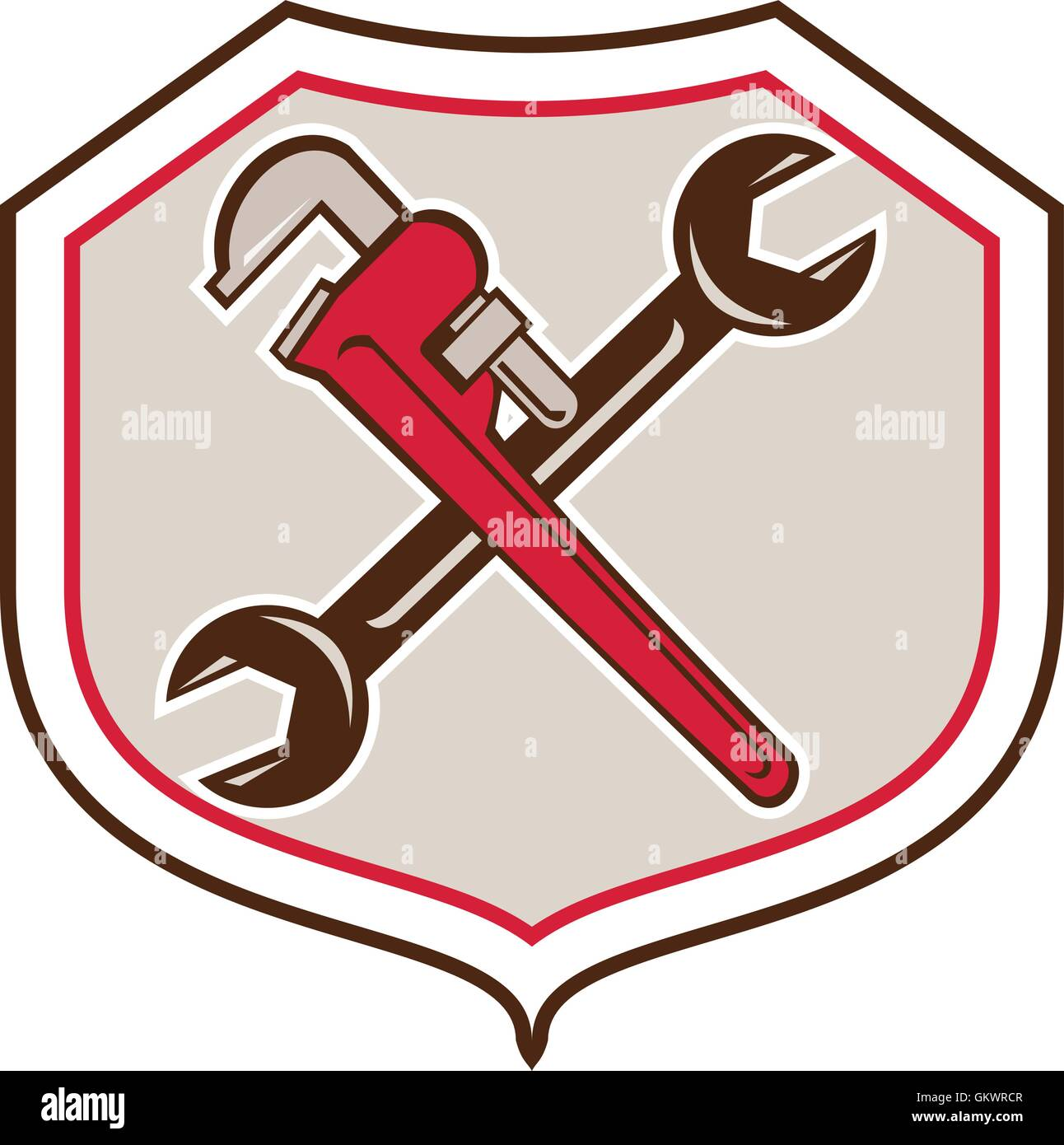 pipe wrench spanner crossed shield cartoon stock vector art