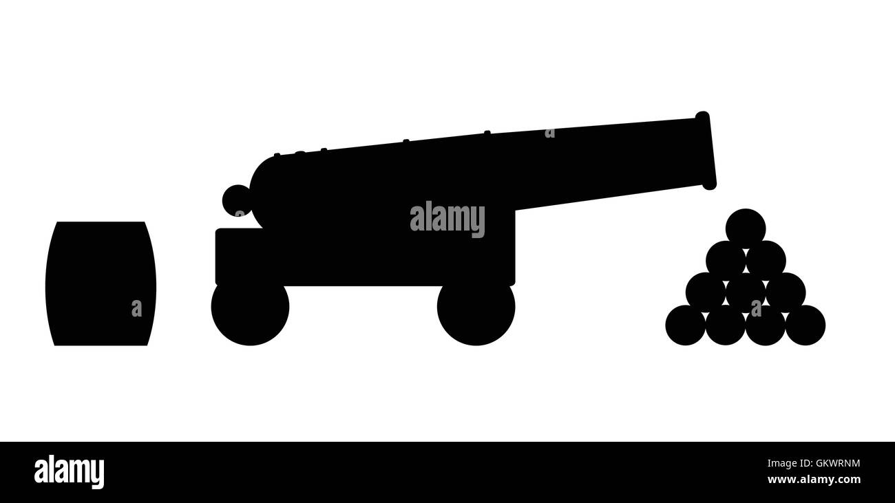 Cannon Silhouette - Stock Vector