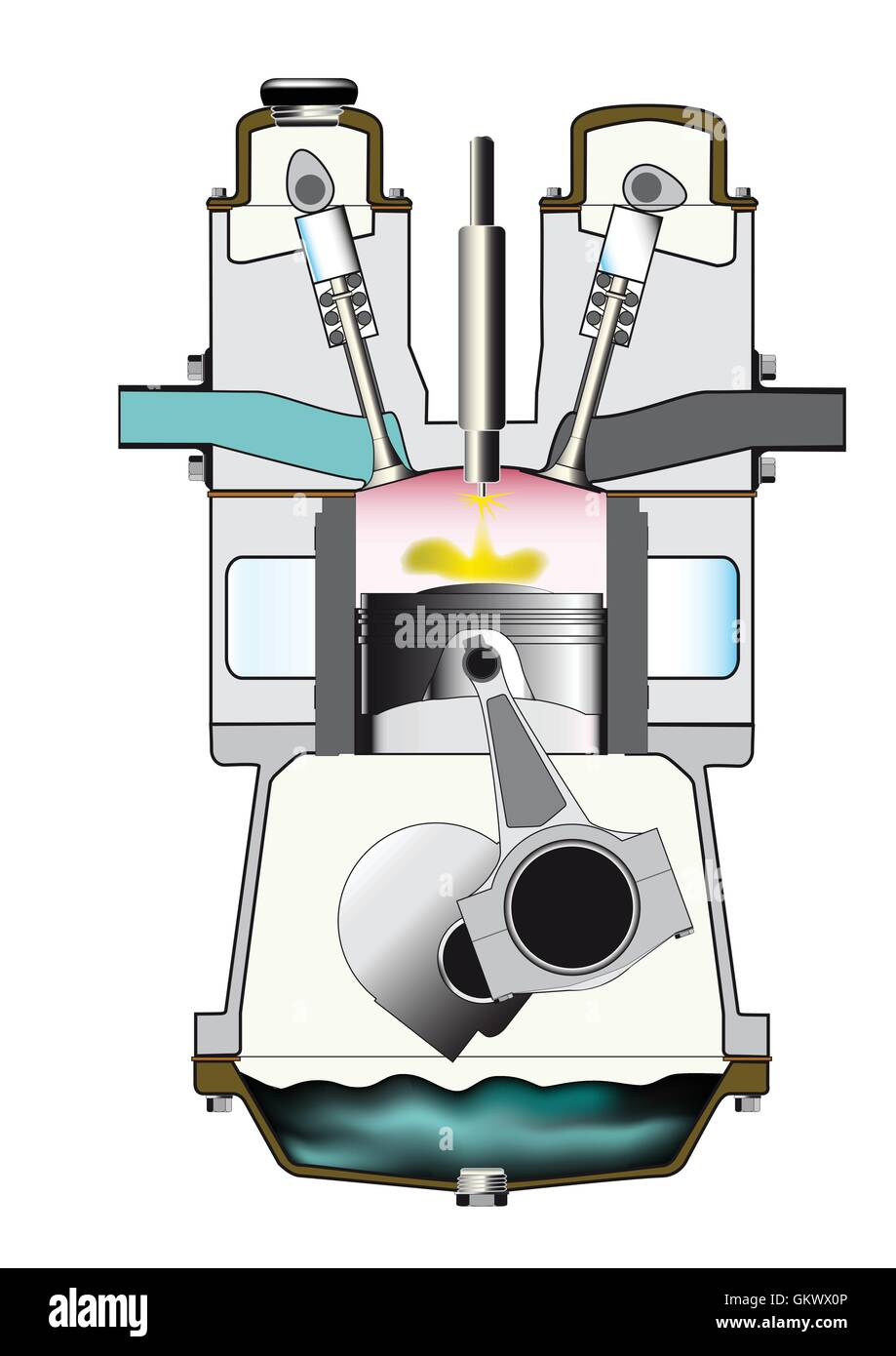Diesel Fuel Injection Ignition Stroke - Stock Vector