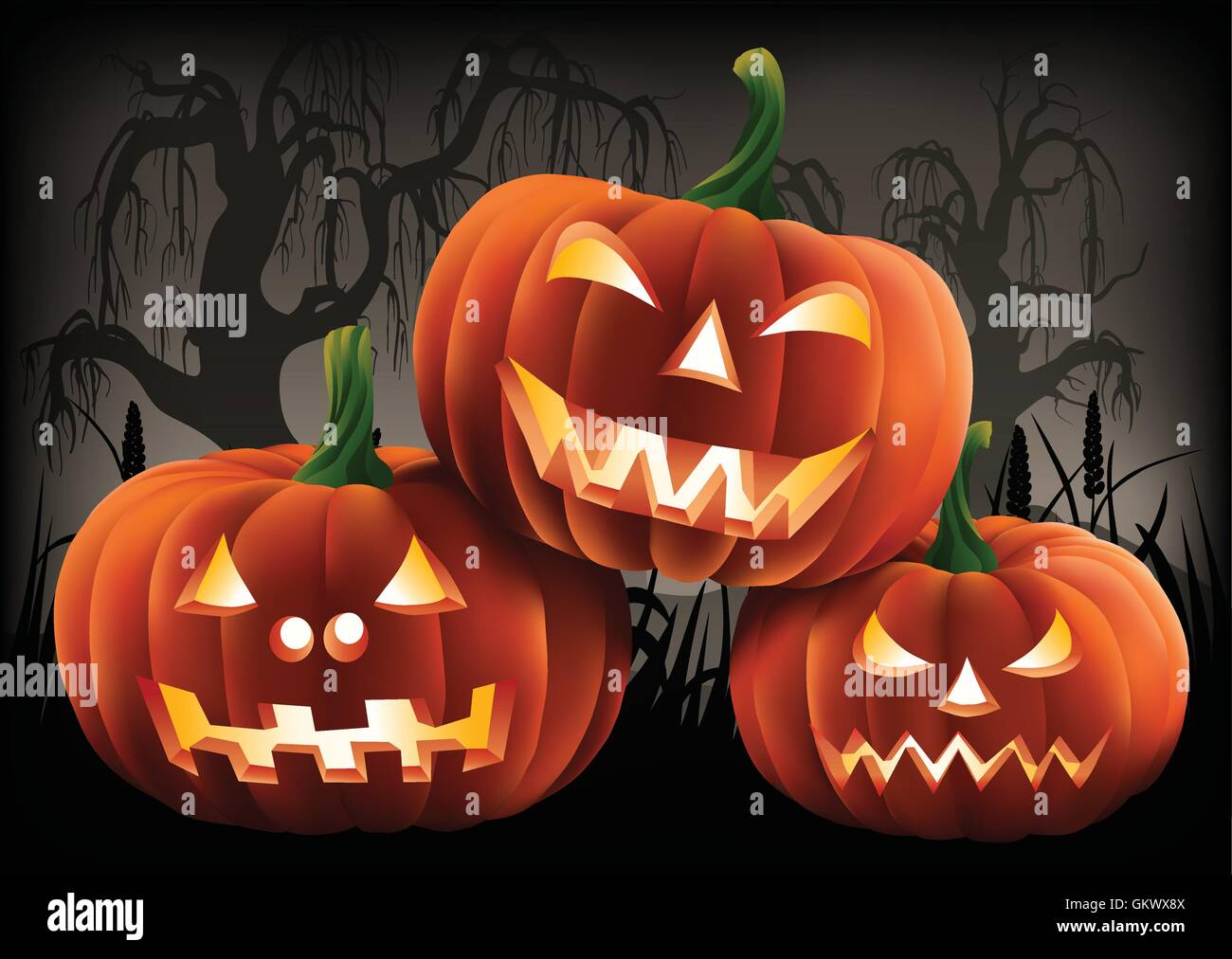Three carved pumpkins in a dark, ominous, Halloween scene. - Stock Vector
