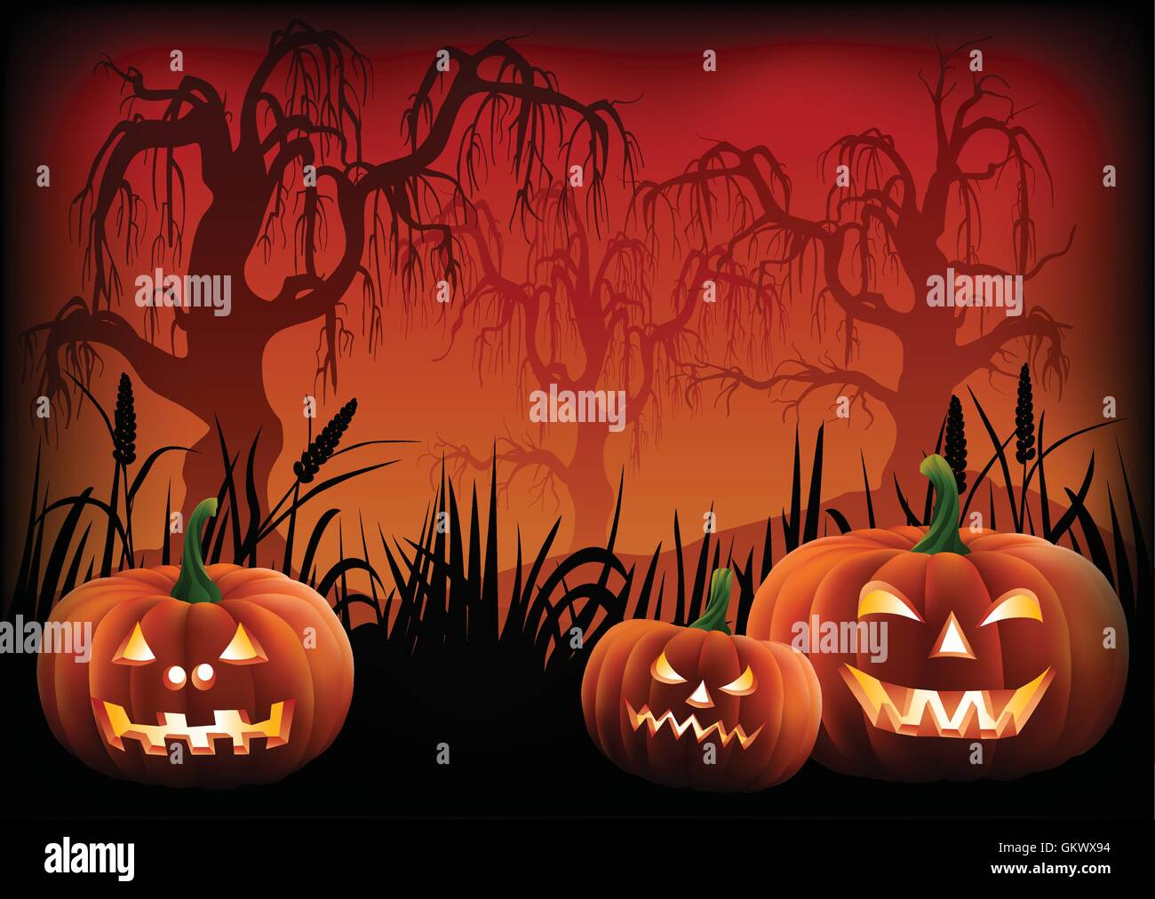 Carved pumpkins at the footer of a Halloween background. - Stock Vector