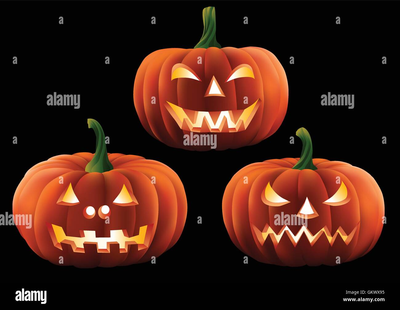 Three carved Halloween pumpkins isolated on a plain background. - Stock Vector