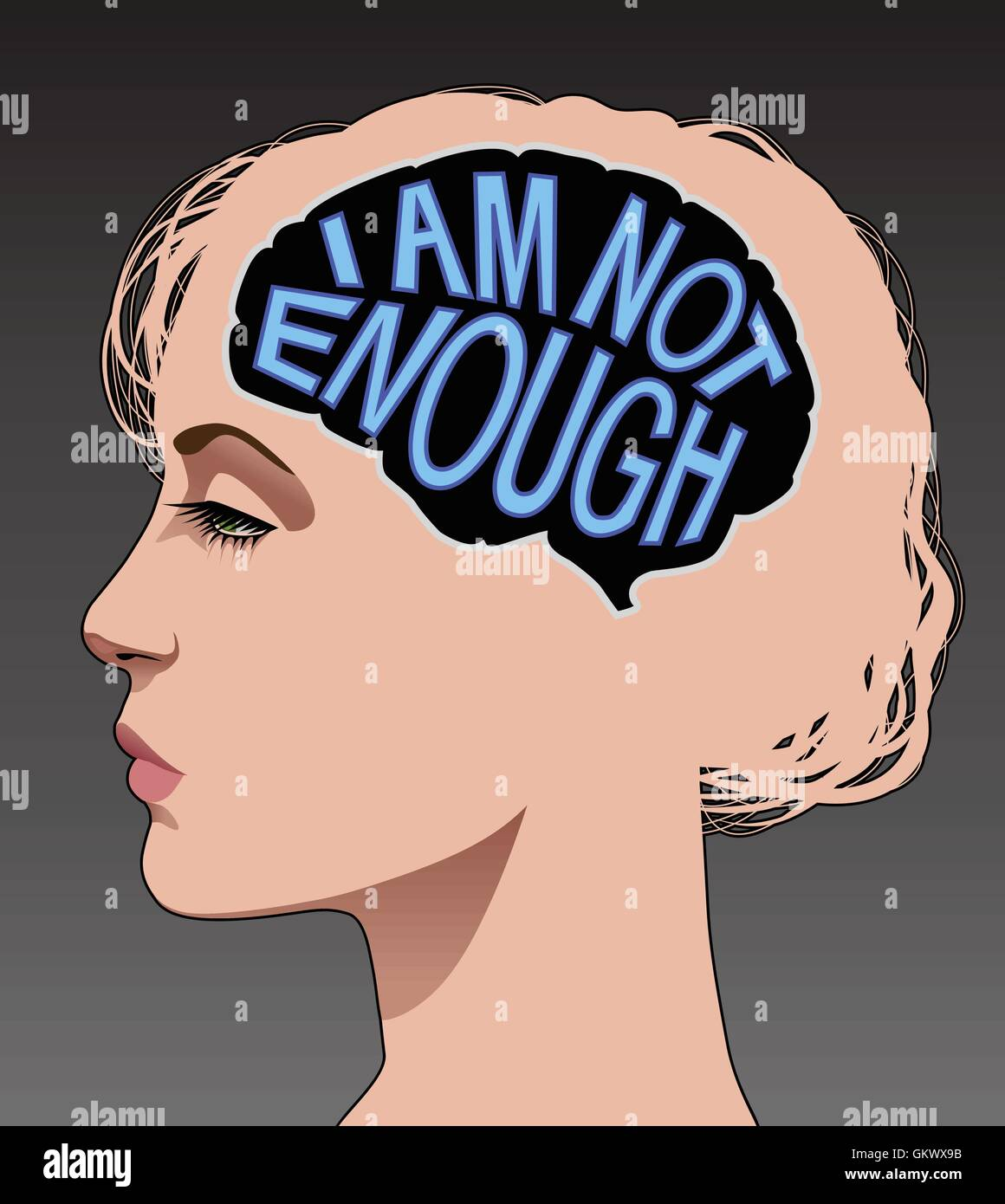Female profile with a brain consisting of the words 'I am not enough' illustrating low self esteem. - Stock Image