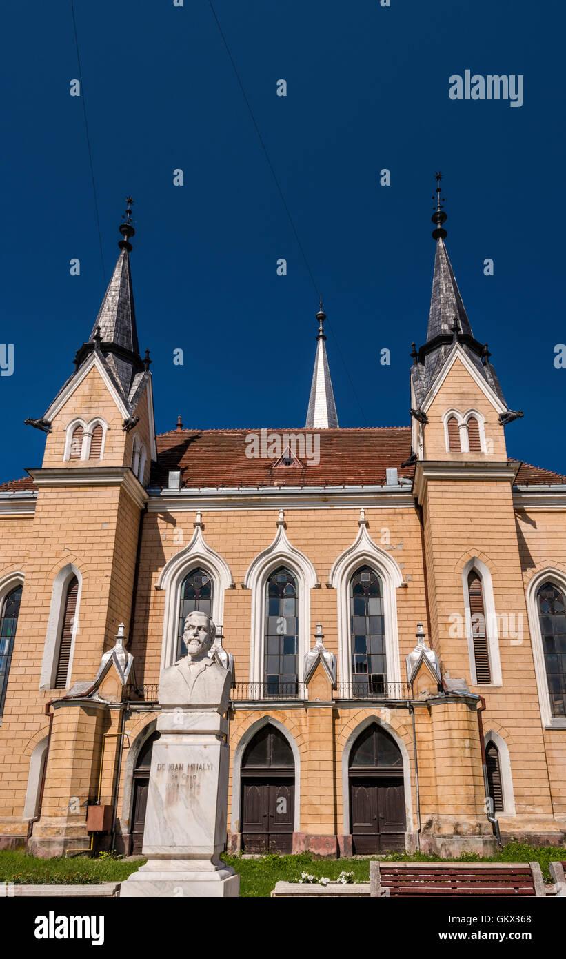 Hungarian Reformed Church, bust of Dr Ioan Mihalyi in Sighetu Marmatiei, Maramures Region, Romania Stock Photo