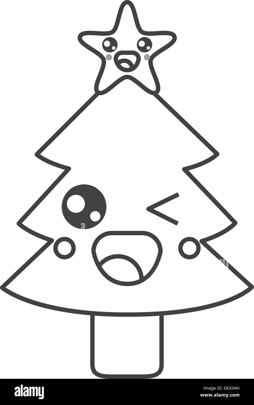 Adorable Cartoon Christmas Kawaii Tree Black And White Stock Photos