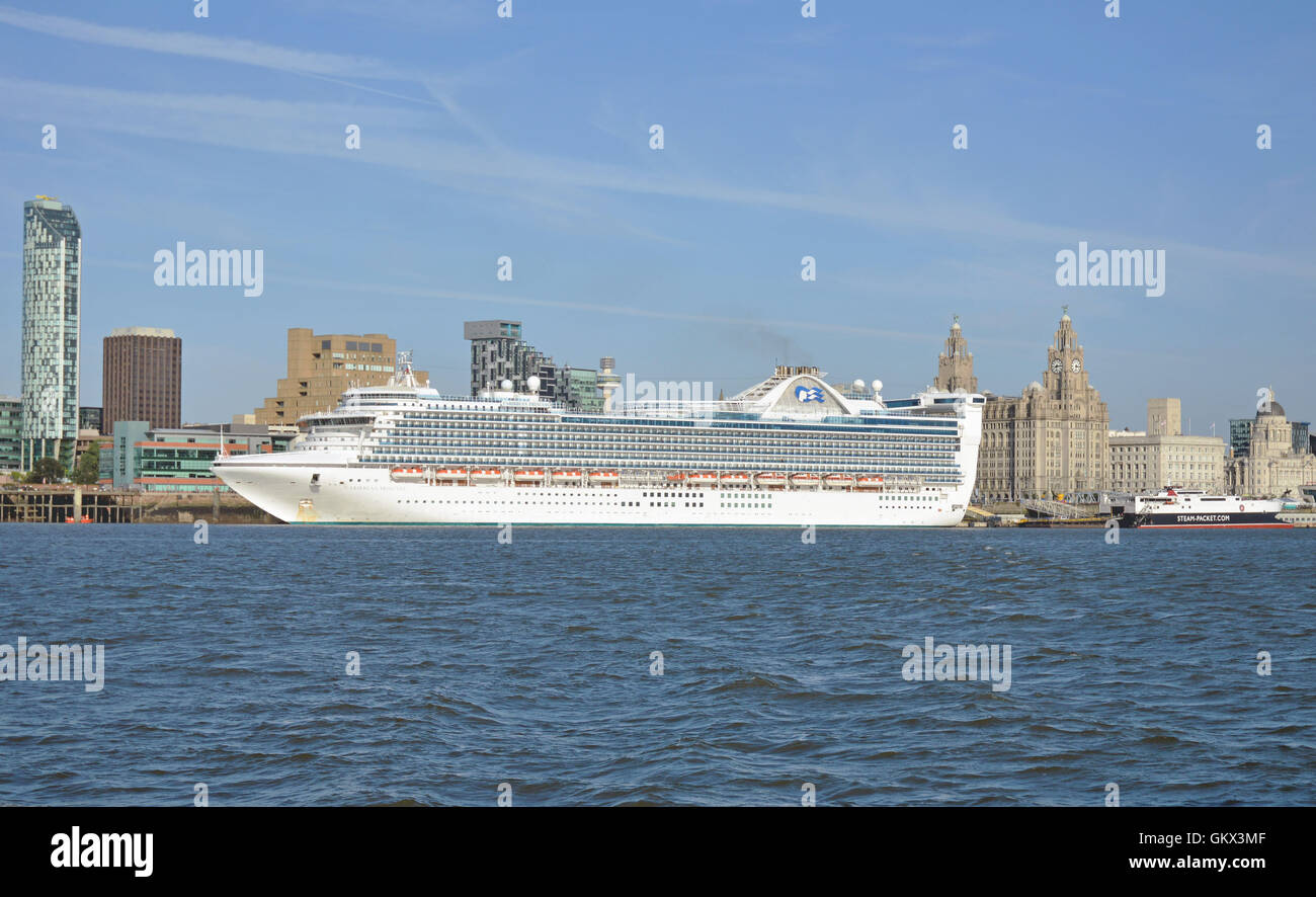Caribbean Princess Berthed In Liverpool - Stock Image