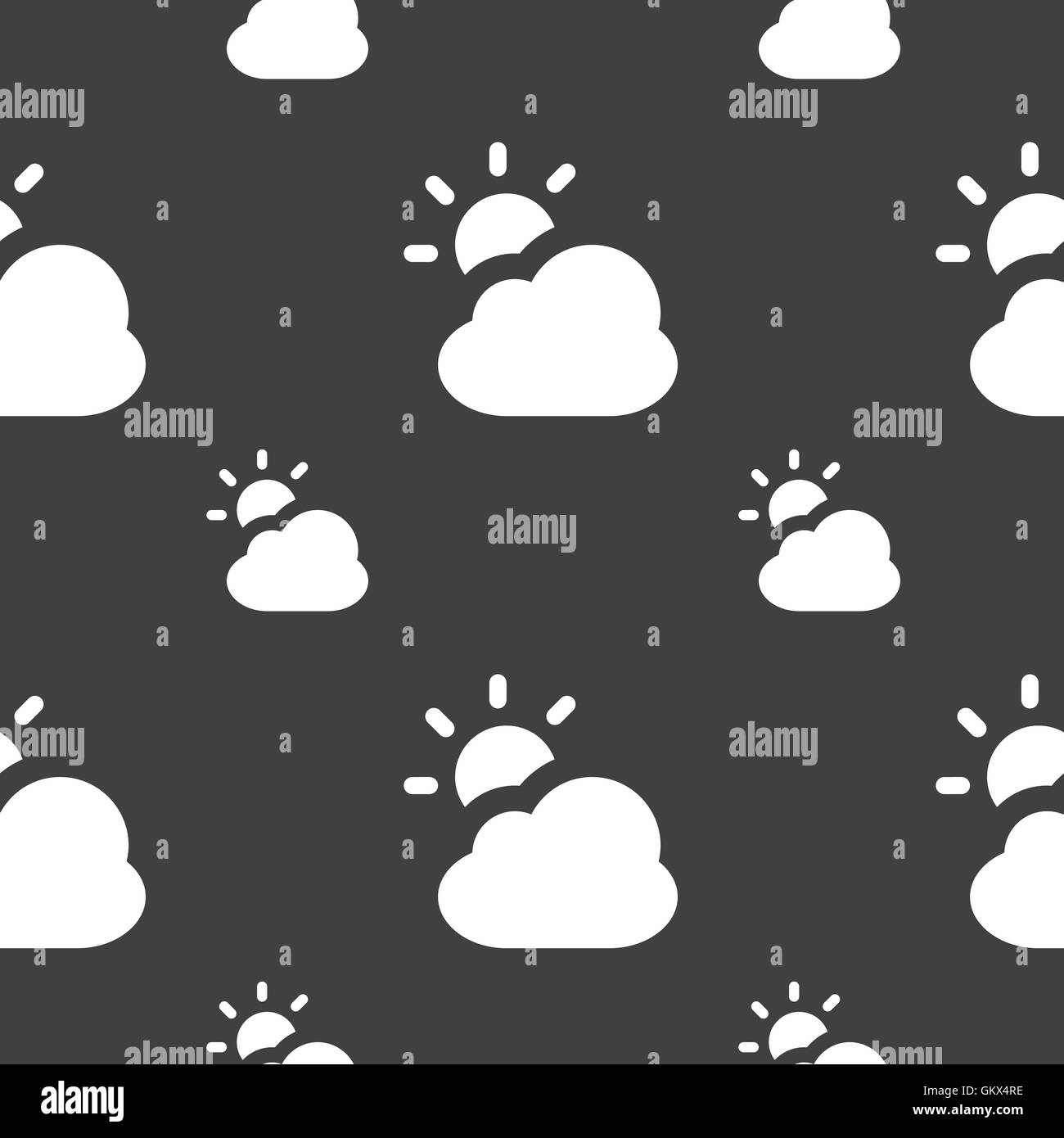 weather icon sign. Seamless pattern on a gray background. Vector - Stock Image