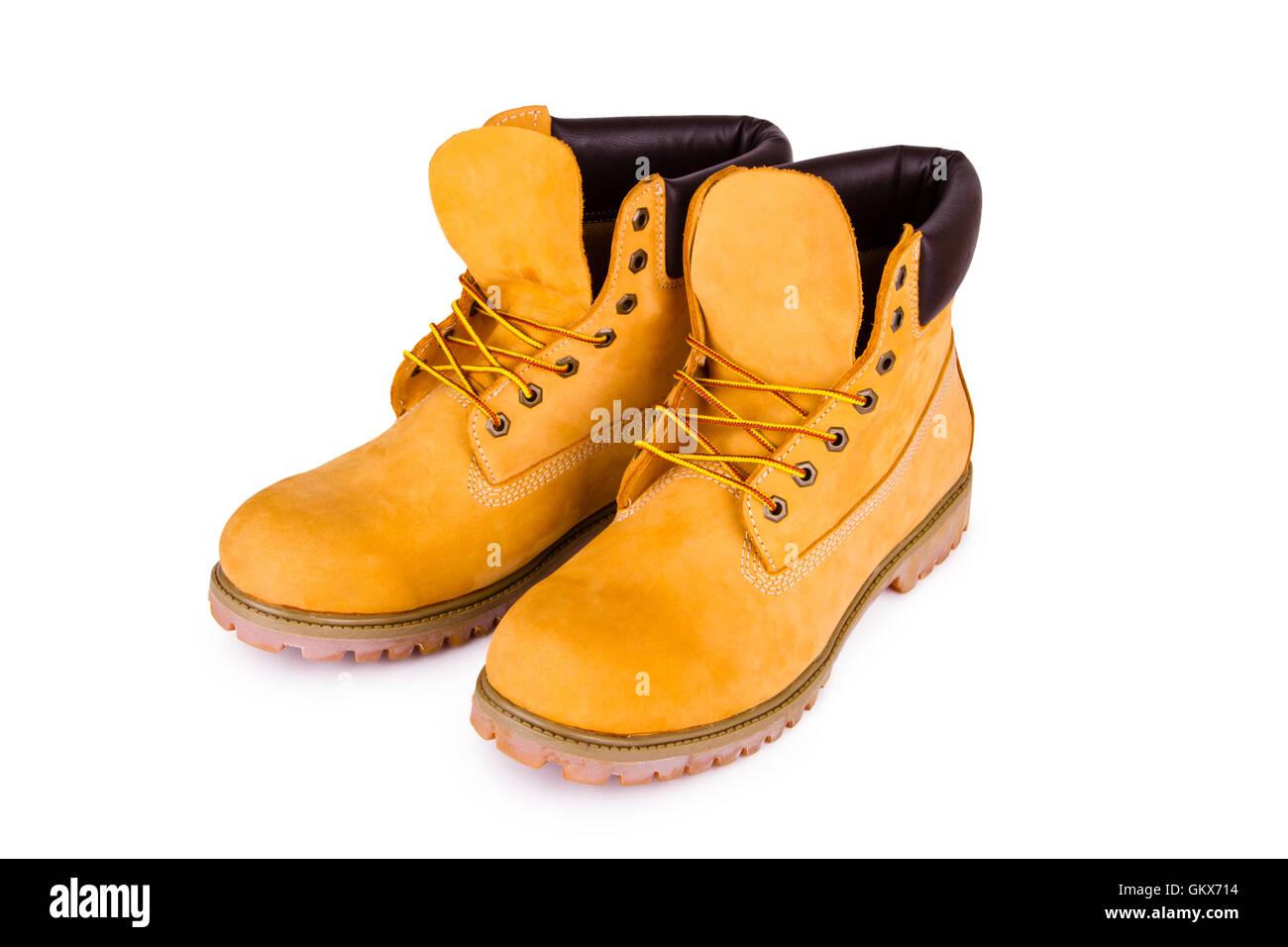 Yellow boots Stock Photo
