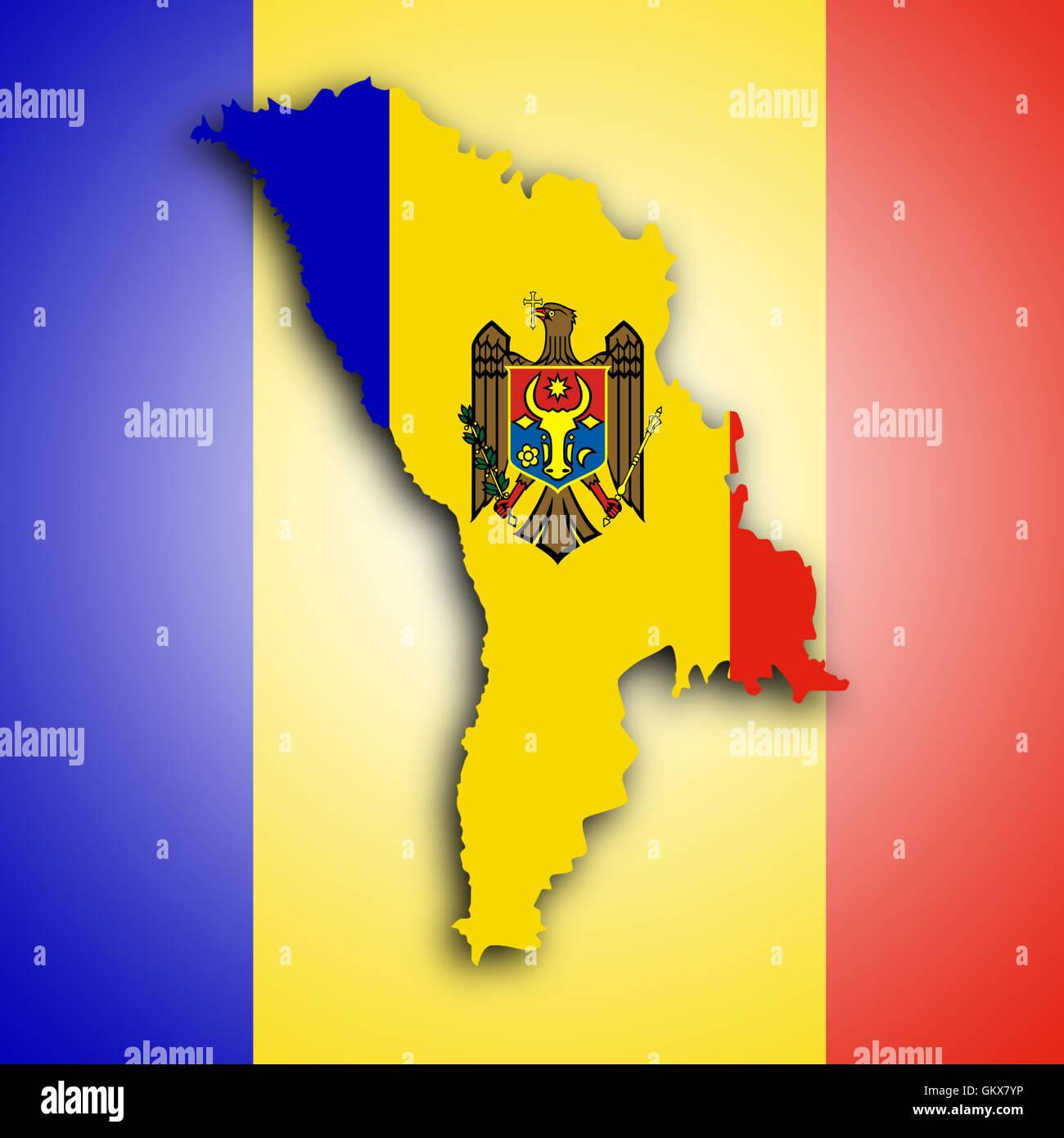 Map of Moldova - Stock Image