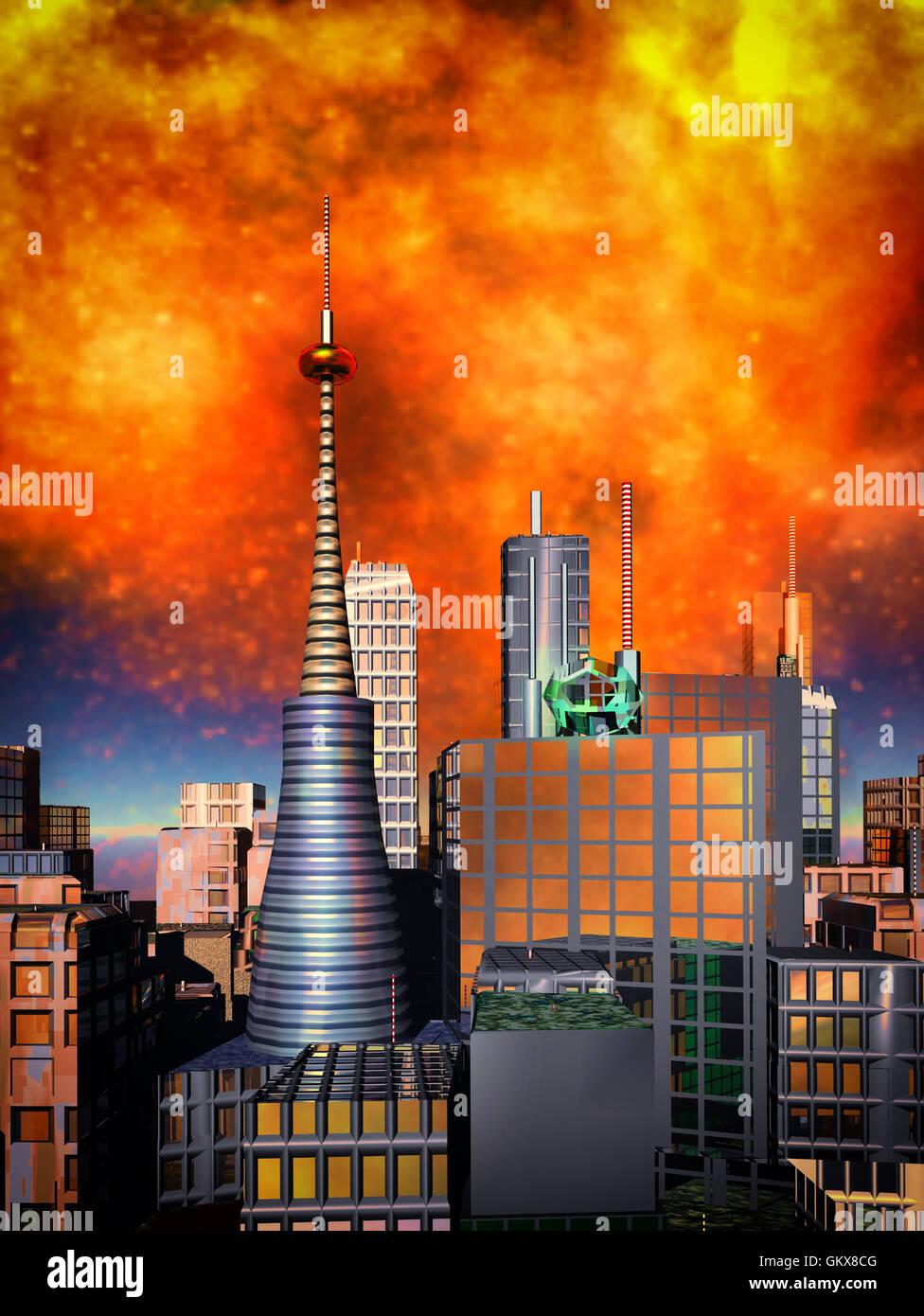 Armageddon  scene in city - Stock Image